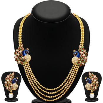 Gleaming Peacock Four Strings Gold Plated Necklace Set