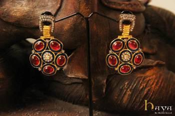 Stylish rhodolite earrings