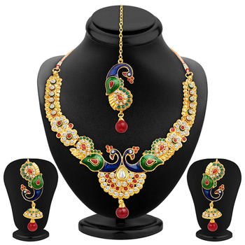 Glistening Peacock Gold Plated Necklace Set