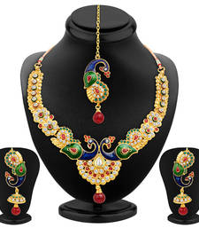 Buy Glistening Peacock Gold Plated Necklace Set necklace-set online