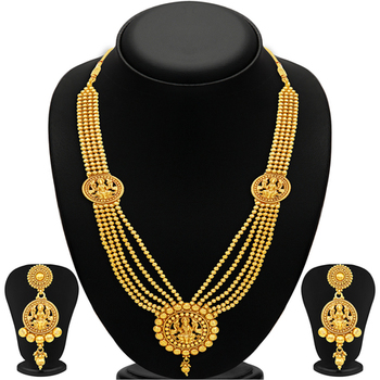 Attractive Five Strings Temple Jewellery Gold Plated Necklace Set