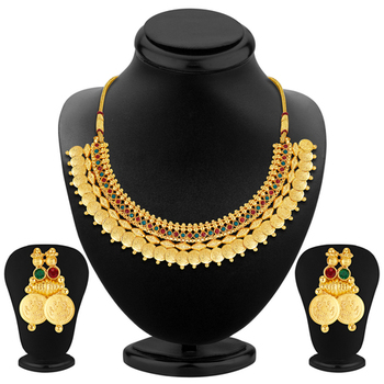 Glimmery Gold Plated Temple Jewellery Necklace Set