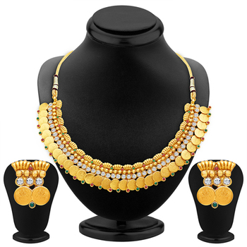 Pleasing Gold Plated Temple Jewellery Necklace Set