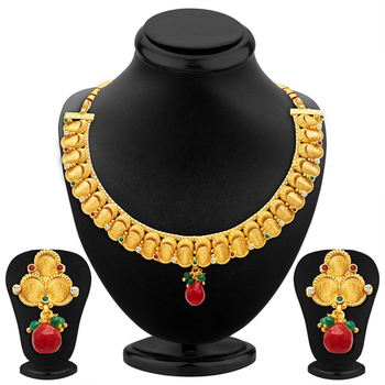 Stunning Gold Plated Temple Jewellery Necklace Set