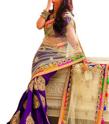 Buy Purple and offwhite embroidered net saree with blouse net-saree online
