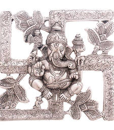 Buy Antique White Metal Swastik Ganesha Hanging wall-art online
