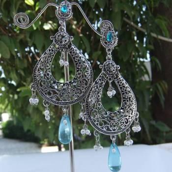 Silver & blue Danglers