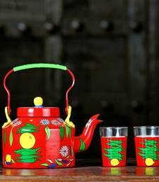 Buy Aluminium Hand Painted Kettle With 2 Tapri Glasse.auspicious Theme. Ketnm birthday-gift online