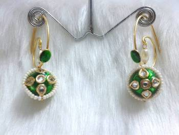 HOOK STYLE HANGINGS GREEN ENAMELING CZ AND PEARL STUDDED EARRING PAIR