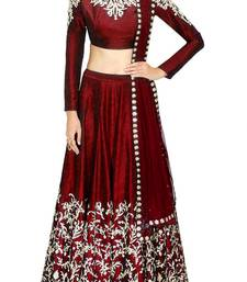 Buy Fabron Maroon coloured designer embroidred lehenga choli with matching dupatta for woman women-ethnic-wear online