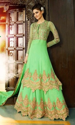 4f5056ba14 Parrot Green Golden Georgette embroidered semi_stitched salwar with dupatta