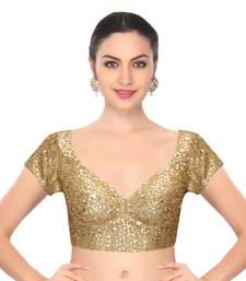 Buy Fabron Beige designer embroidered unstitched blouse for women blouse-fabric online