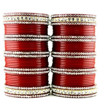 acrylic plastic suhag panjubi chura red colour  size-2.4,2.6,2.8