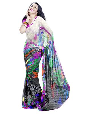 Saree Elegant Chiffon Designer Print With Blouse Piece D.No 10001A