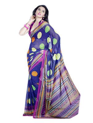 Saree Elegant Chiffon Designer Print With Blouse Piece D.No 10003A