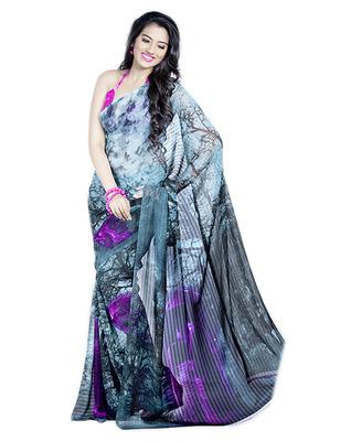 Saree Elegant Chiffon Designer Print With Blouse Piece D.No 100010A