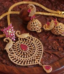 Buy Awesome cz-ruby designer peacock necklace set-DJ00810 necklace-set online