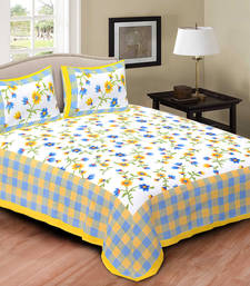 Buy yellow-blue Cotton printed Bed-Sheets bed-sheet online