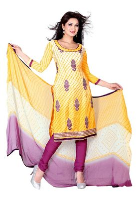 Fabdeal Yellow Colored Crepe Jacquard Unstitched Salwar Suit