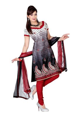 Fabdeal Grey & White Colored Crepe Jacquard Unstitched Salwar Suit