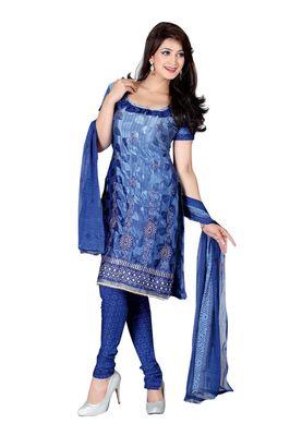 Fabdeal Blue Colored Crepe Jacquard Unstitched Salwar Suit