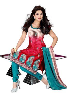 Fabdeal Crimson Colored Crepe Jacquard Unstitched Salwar Suit