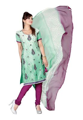 Fabdeal White Colored Crepe Jacquard Unstitched Salwar Suit