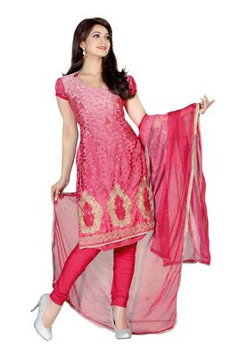 Fabdeal Peach Colored Crepe Jacquard Unstitched Salwar Suit