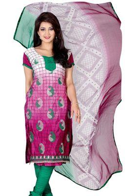 Fabdeal Magenta Colored Crepe Jacquard Unstitched Salwar Suit