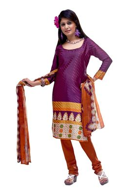 Fabdeal Purple Colored Crepe Jacquard Unstitched Salwar Suit