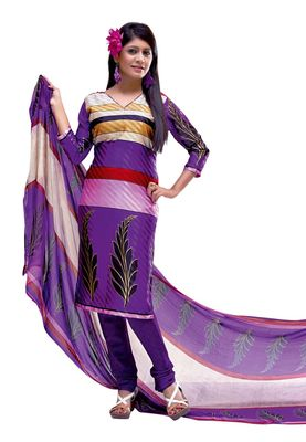 Fabdeal Multi Colored Crepe Jacquard Unstitched Salwar Suit