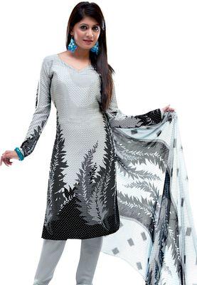 Fabdeal White & Black Colored Crepe Jacquard Unstitched Salwar Suit