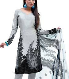 Fabdeal White & Black Colored Crepe Jacquard Unstitched Salwar Suit shop online