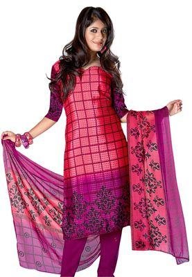 Fabdeal Salmon Colored Crepe Jacquard Unstitched Salwar Suit