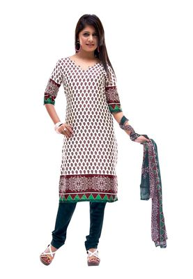 Fabdeal White & Maroon Colored Crepe Jacquard Unstitched Salwar Suit