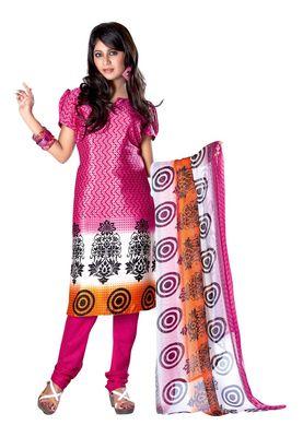 Fabdeal Light Pink Colored Crepe Jacquard Unstitched Salwar Suit