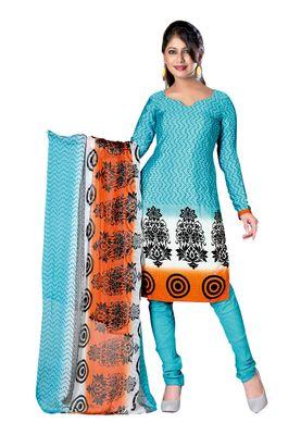 Fabdeal Sky Blue Colored Crepe Jacquard Unstitched Salwar Suit