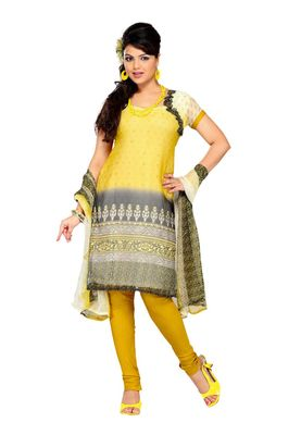 Fabdeal Yellow Colored Chiffon Unstitched Salwar Suit