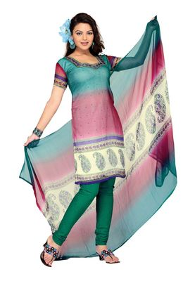 Fabdeal Teal Colored Chiffon Unstitched Salwar Suit