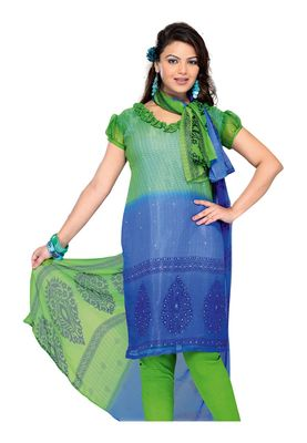 Fabdeal Green Colored Chiffon Unstitched Salwar Suit