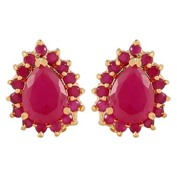 Floral Oval Ruby Earrings