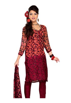 Fabdeal Dark Salmon Colored Chiffon Unstitched Salwar Suit