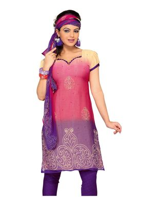 Fabdeal Pink & Purple Colored Chiffon Unstitched Salwar Suit