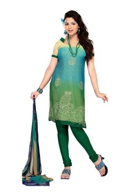 Fabdeal Sky Blue Colored Chiffon Unstitched Salwar Suit