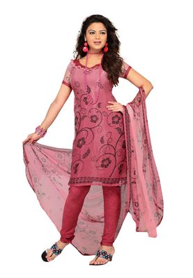 Fabdeal Light Crimson Colored Chiffon Unstitched Salwar Suit