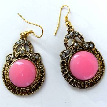 Pink stone earring