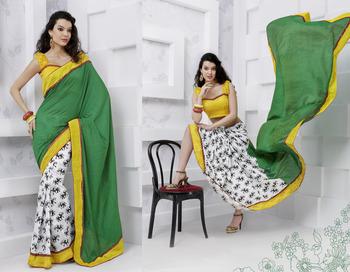 Saree Gold Desigher party wear Saree Rich look 1608