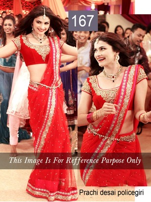 Prachi Desai Red Saree in Policegiri