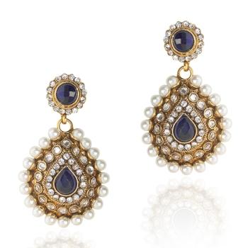 Elegant Blue Pearl Polki Dangler v91b