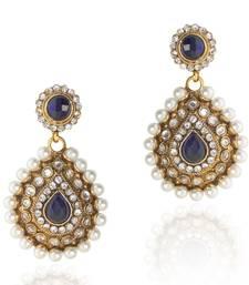 Buy Elegant Blue Pearl Polki Dangler v91b danglers-drop online